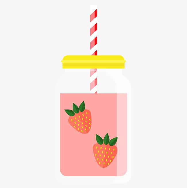 美味的草莓饮料手绘图