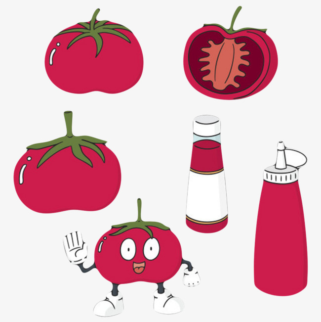 红色塑料瓶子番茄酱包装卡通图片