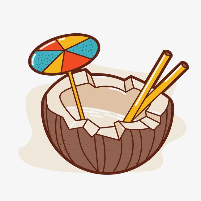 矢量手绘卡通椰子汁