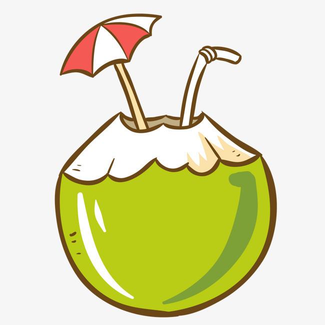 卡通手绘椰子果汁设计图片