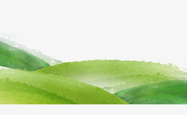 手绘小山坡小清新绿色草地初春踏青畅享春天休闲