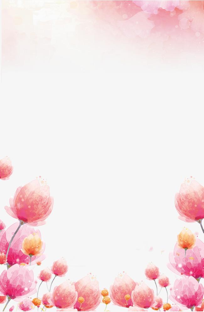 小清新手绘粉红花朵边框