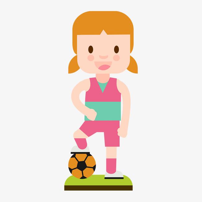 足球和女运动员卡通图图片