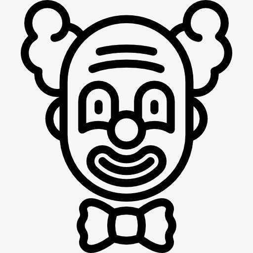 卡通简约黑白插画小清新小丑鬼脸图片