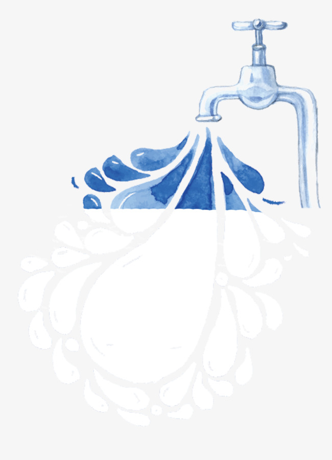 手绘装饰插图节约用水插画