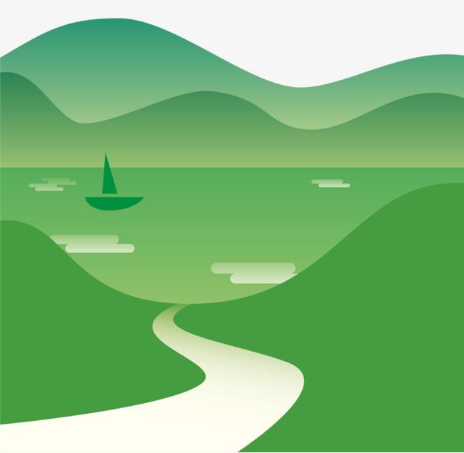 千库网提供装饰插图春天绿色风景装饰画矢量免抠png素材