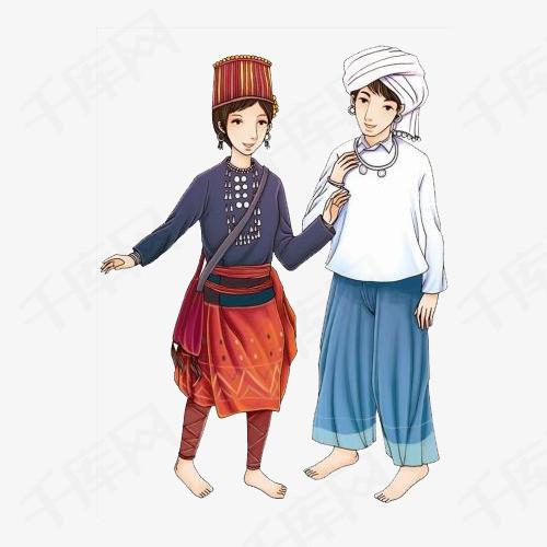 少数民族男女手绘图素材图片免费下载 高清png 千库网 图片编号10145578