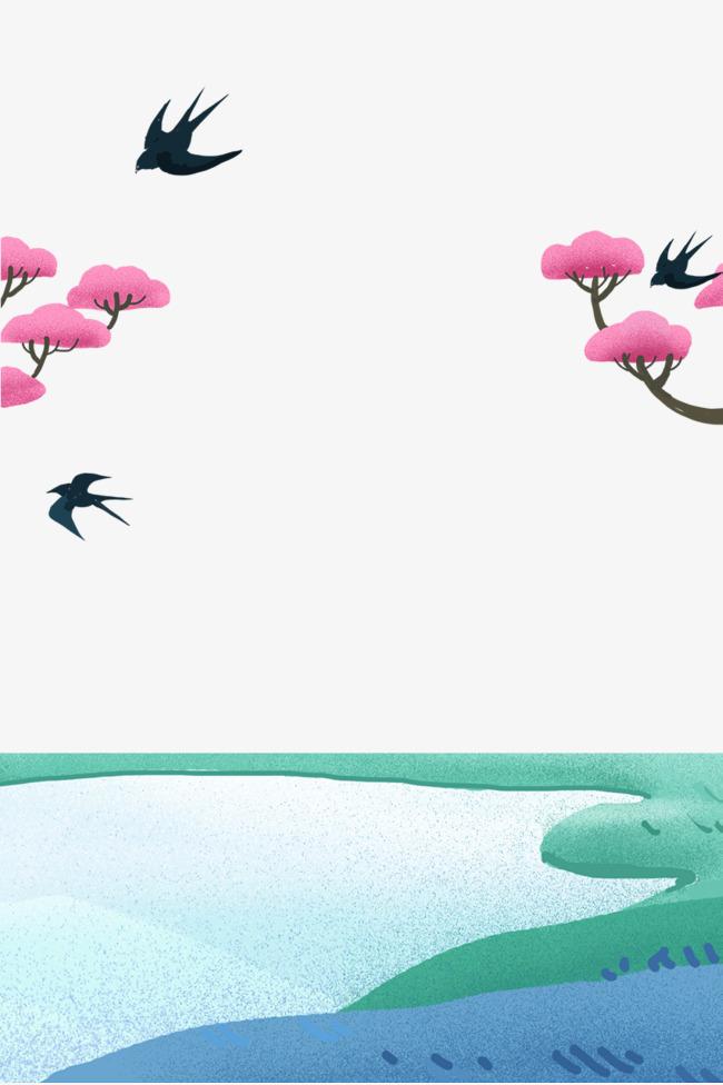 清明节燕子归来手绘边框素材图片免费下载 高清psd 千库网 图片编号10164136