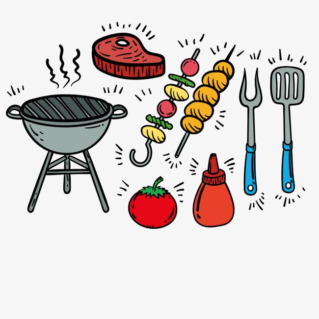 烧烤炉叉子牛排番茄酱矢量图片