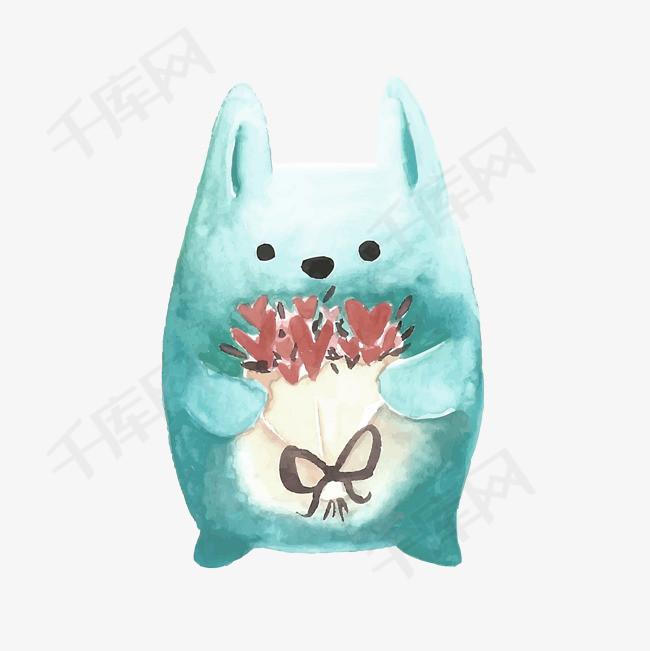 手绘水墨捧着花的猫咪免抠素材手绘水墨捧着花猫咪卡通卡通可爱可爱卡通可爱的猫咪