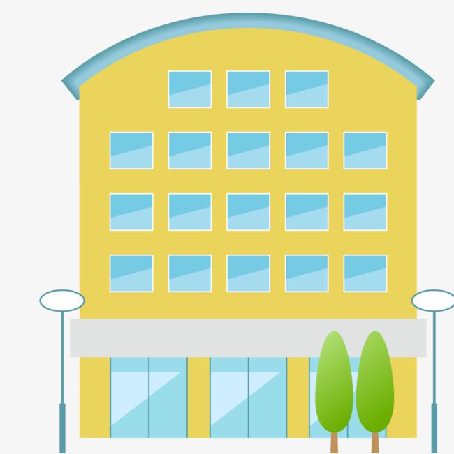 黄色卡通大楼和路灯图片