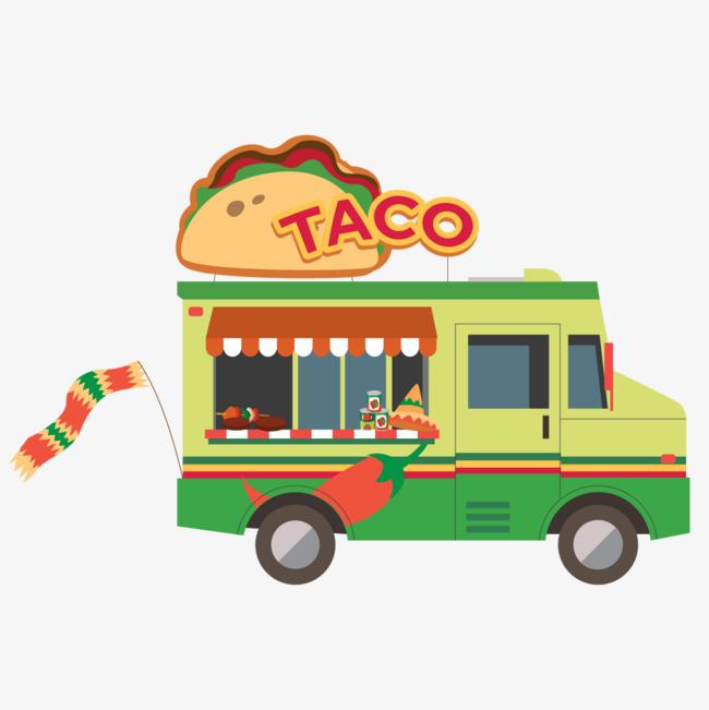 披萨矢量卡通风景墨西哥快餐车插图图片