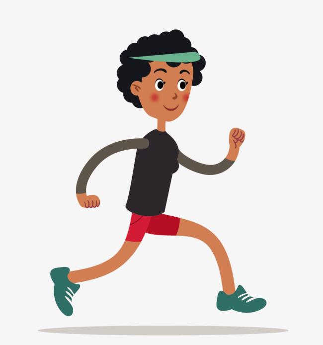卡通扁平化跑步女子矢量素材图片
