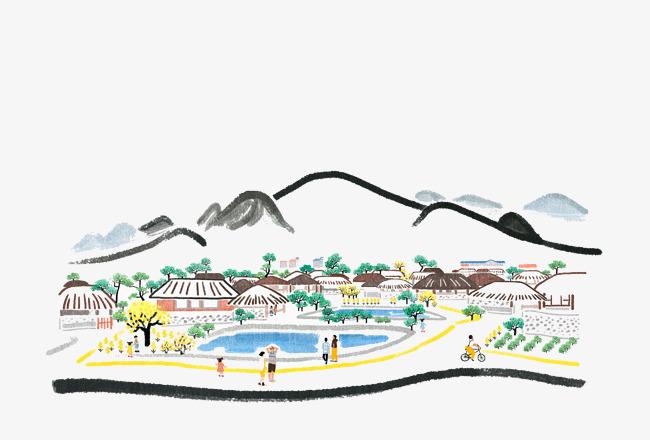 千库网提供卡通手绘山脚下的美景矢量免抠png素材