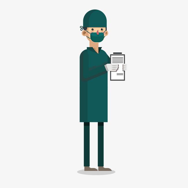 戴口罩的绿色医生图片