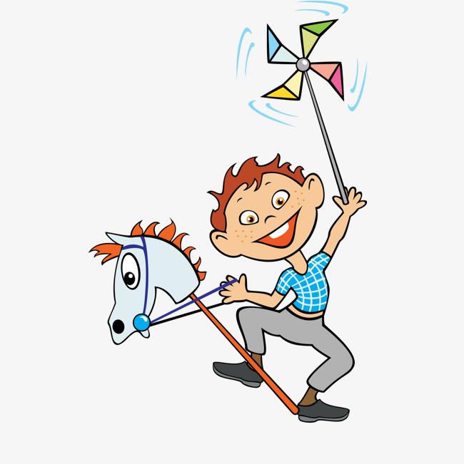 千库网 图片素材 卡通玩骑马玩具的男孩