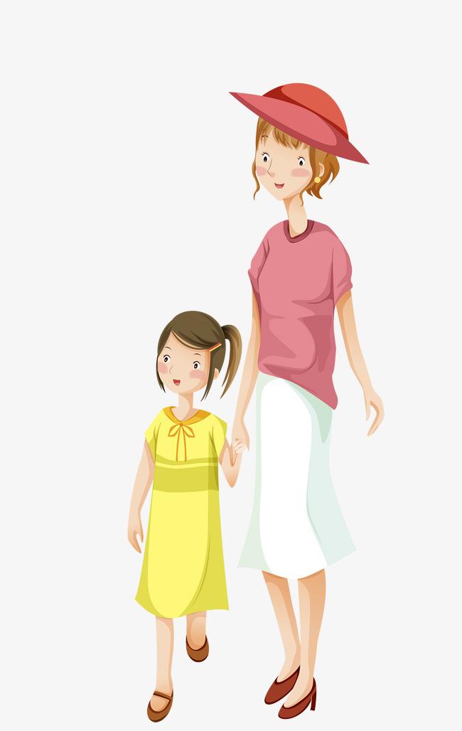 卡通手绘可爱母女插画免抠