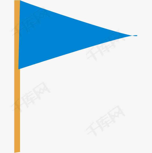 手绘蓝色旅游三角旗矢量素材