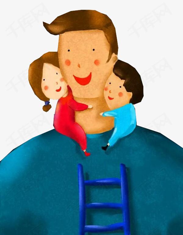 手绘装饰插图父亲节爸爸与孩子插画图片