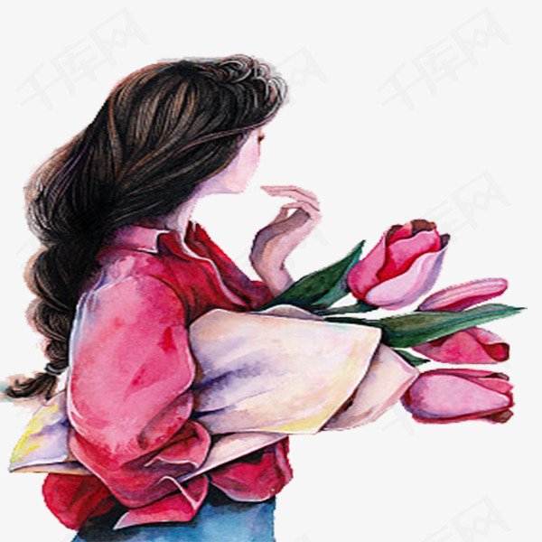 抱鲜花的长发女孩png下载图片