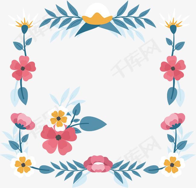 正方形鲜花框矢量下载素材图片免费下载_高清psd_千库