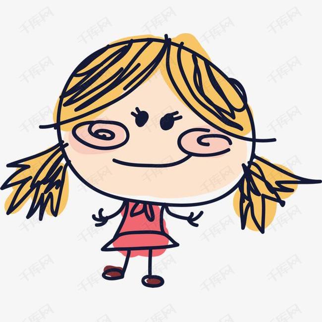免抠涂鸦有趣的孩子卡通小人手绘女孩卡通表情黑色线条简笔画人物