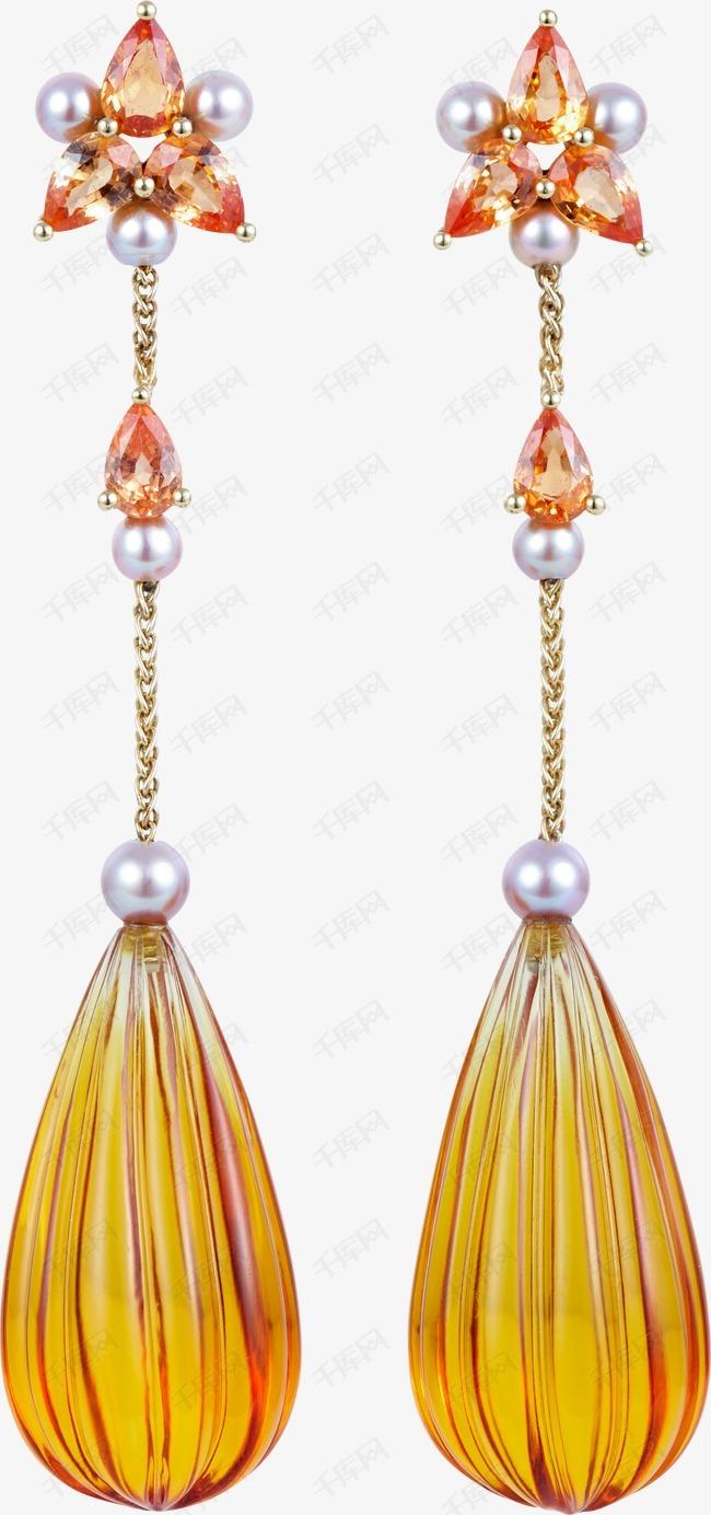 黄宝石吊坠耳环