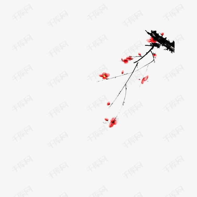 中国风手绘国画年画装饰梅花