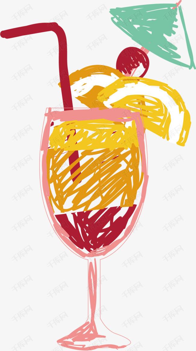 卡通手绘鸡尾酒
