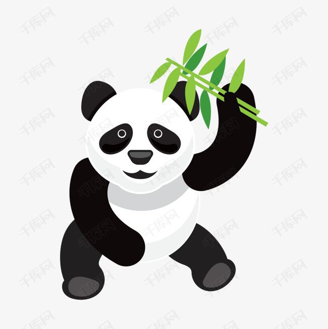 卡通可爱扁平熊猫竹叶