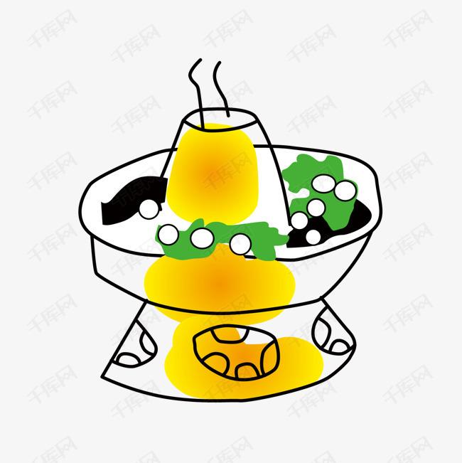 卡通手绘美食火锅