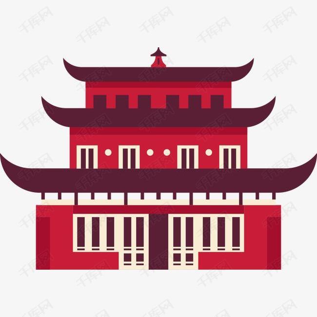 卡通扁平中国建筑