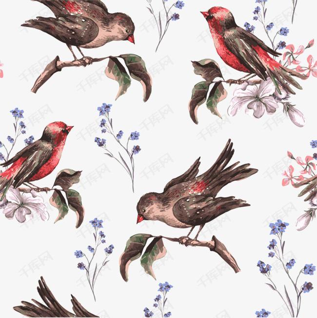 卡通手绘鸟底纹