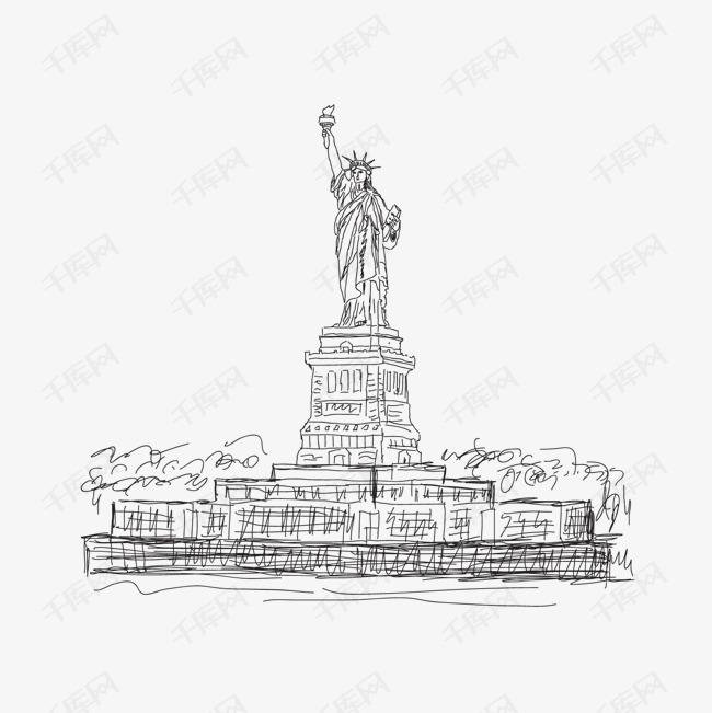 手绘世界著名建筑矢量图