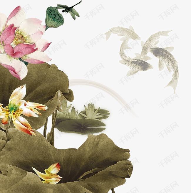 手绘莲花莲花荷叶