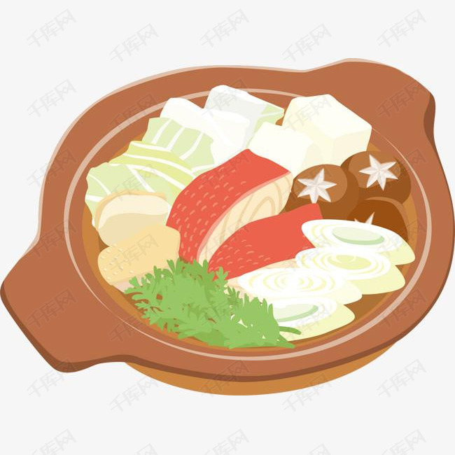 卡通美食火锅