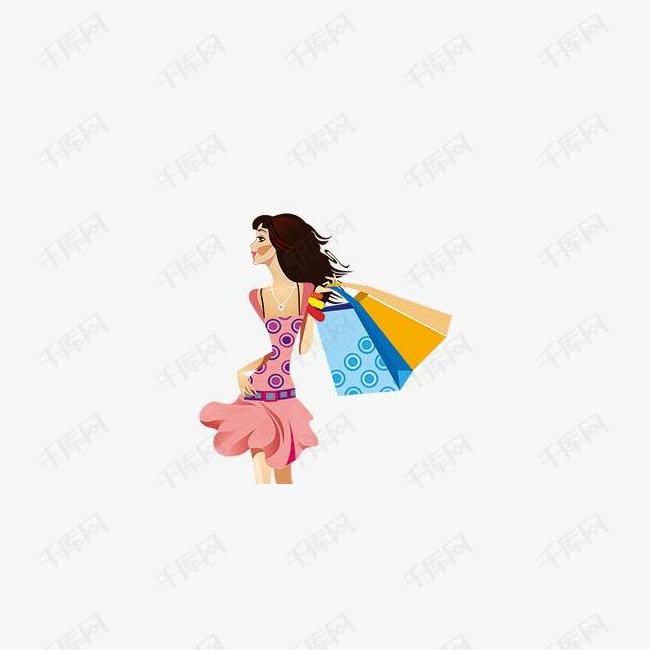 矢量购物女郎