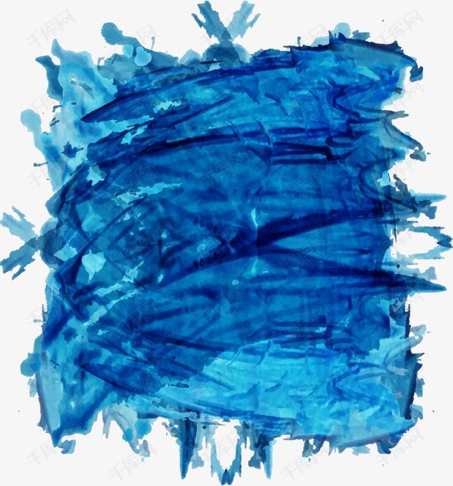 个性蓝色水彩涂鸦