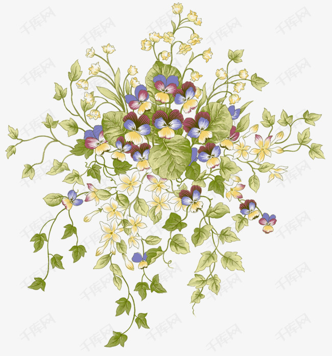 韩式花簇绿色