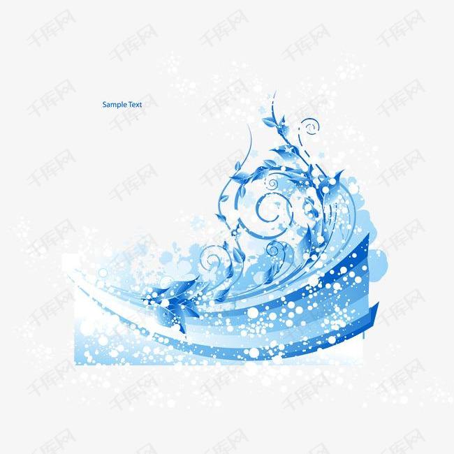 矢量蓝色花纹