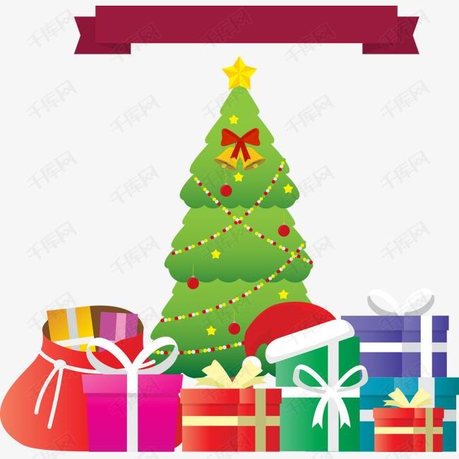 圣诞树与礼盒素材