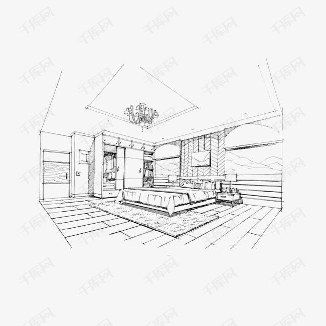 卧室手绘线稿素材图片免费下载 高清png 千库网 图片编号8127144图片