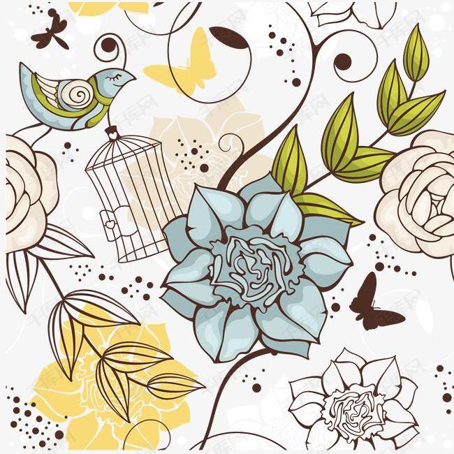 鸟与花插画矢量
