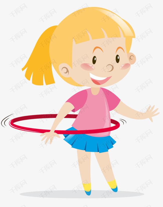 玩呼啦圈的小女孩