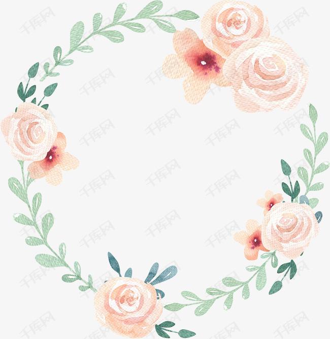 手绘水彩绘画粉嫩花卉绿叶边框素材图片免费下载 高清png 千库网 图片编号7936522