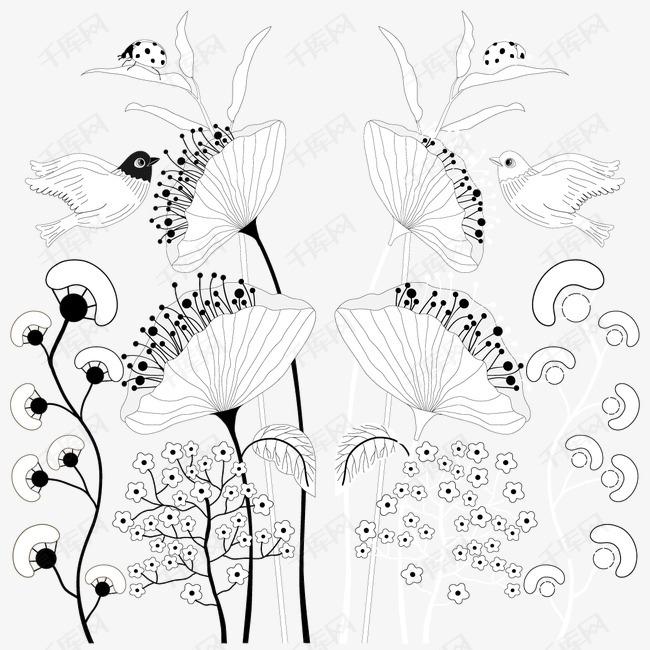 手绘线描花卉装饰矢量图素材图片免费下载 高清装饰图案psd 千库网 图片编号2282936图片