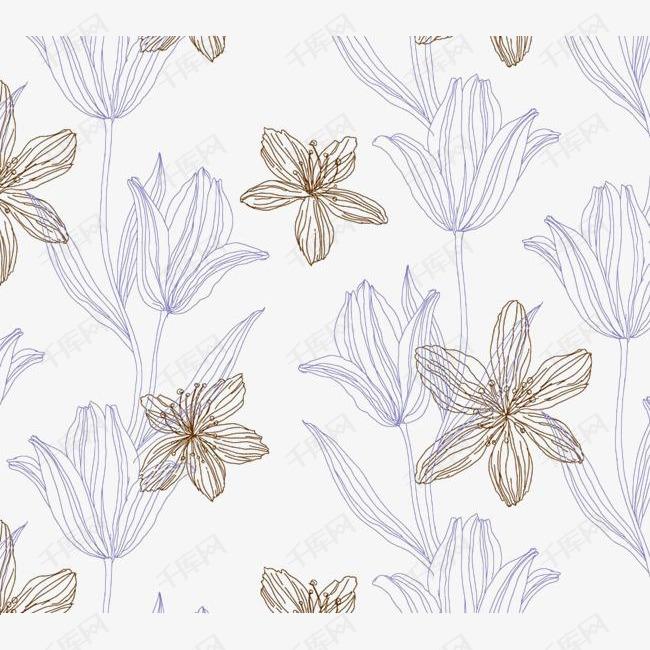 手绘线描花卉的素材免抠花朵元素线描装饰植物-手绘线描花卉素材图图片
