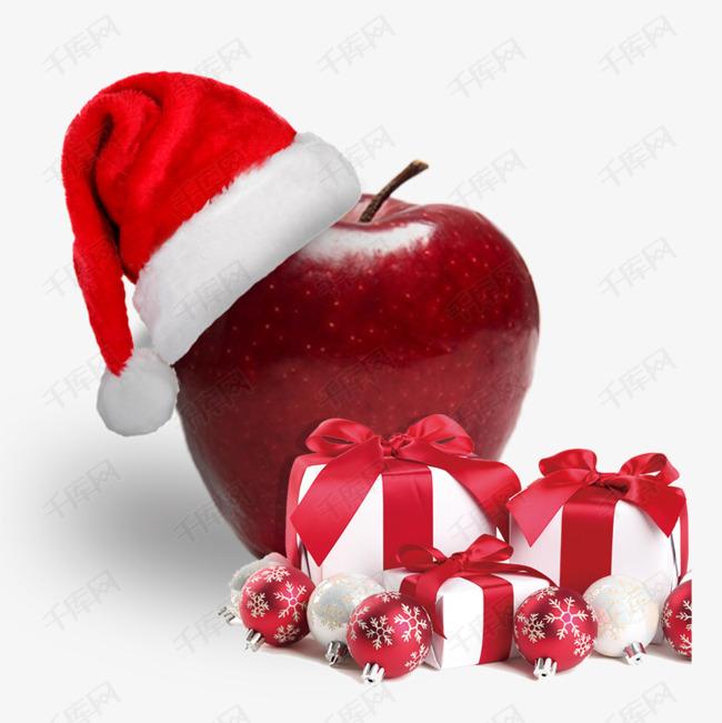 戴着圣诞帽的苹果