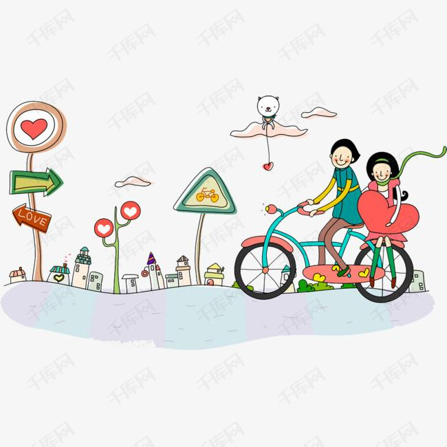 手绘骑自行车的男孩