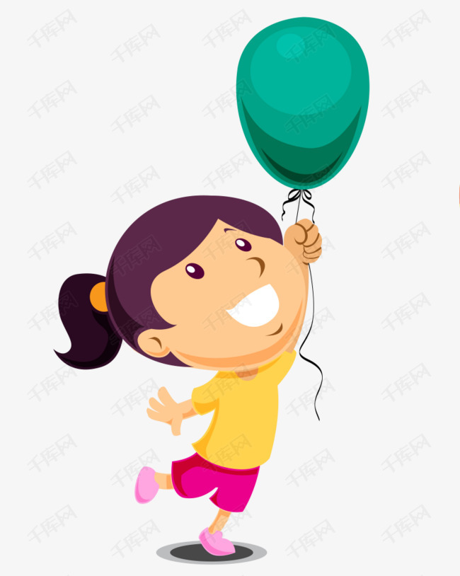 玩气球的小女孩